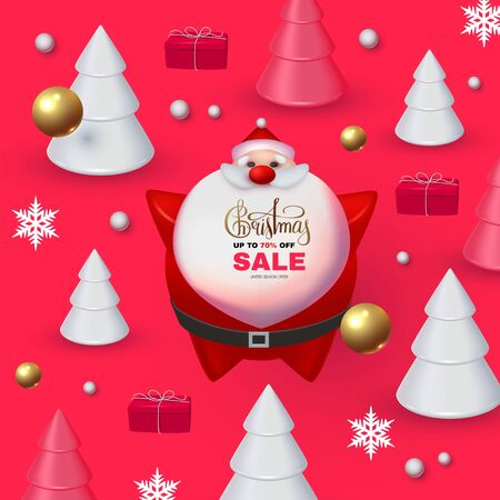 Christmas Sale Holiday special offe with 3D elements: Santa Claus, fir trees, gifts, snowflakes, lettering and balls. Çizim