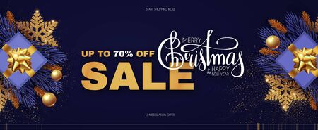 Christmas Sale design template with gifts, fir tree branches, glossy golden balls, elegant gold snowflakes and lettering.