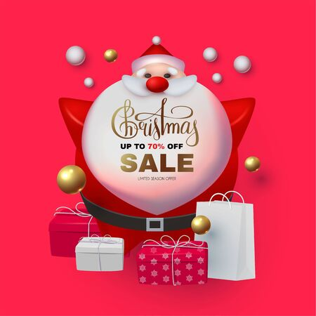 Christmas Sale Holiday special offe with 3D elements: Santa Claus, gifts, snowflakes, lettering and balls.