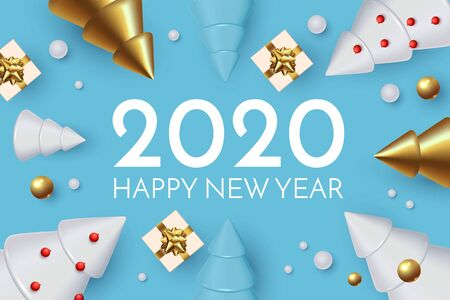 Happy New 2020 Year Holiday greeting with 3D fir trees, gifts and snow. Christmas cute design.