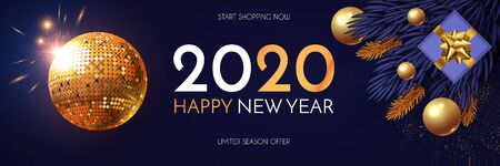 Happy New 2020 Year Shining holiday design with gold disko ball, fir tree branches, glossy toys, gifts and light. Party invitation. Çizim