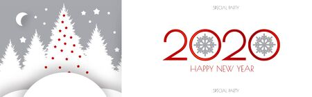 Happy new 2020 year flyer design template. Elegant white card with Christmas trees. Coniferous forest.