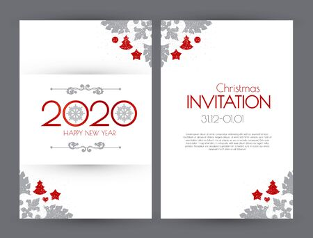 Happy new 2020 year flyer design template. Elegant white card with Christmas decoration.