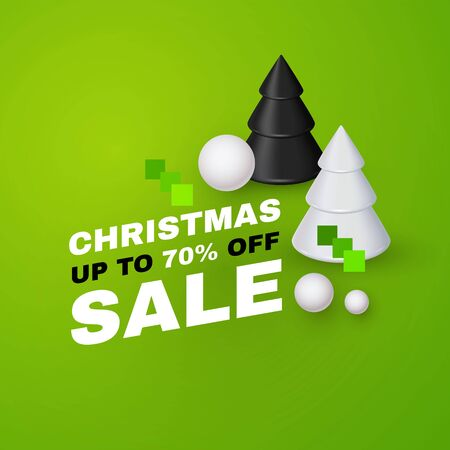Christmas sale. Minimak 3D design with Christmas trees.