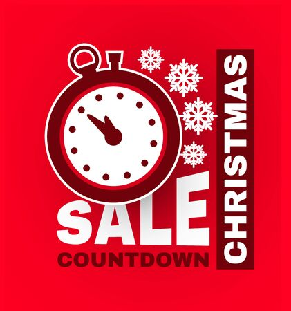 Christmas countdown sale label. Season offer sticker design template with clock.