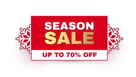Christmas sale label. Season offer sticker design template with snowflakes. 일러스트
