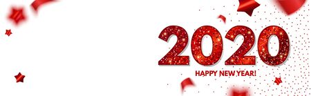 Happy New 2020 Year Elegant Design with red shining year number on white background and stars 일러스트
