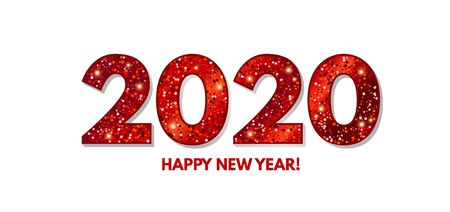 Happy New 2020 Year Elegant Design with red shining year number on white background. Ilustração