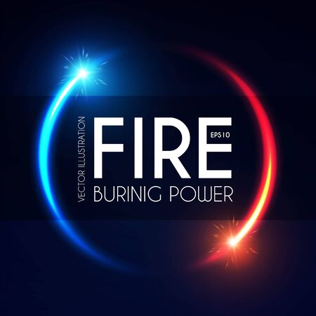Fire and light design. Versus shining circle banner. Red and blue flash.