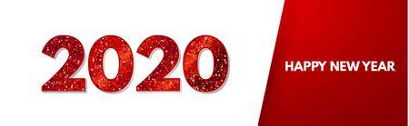 Happy New 2020 Year Elegant Design with red shining year number on white background. Illusztráció