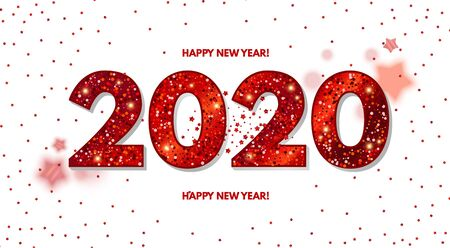 Happy New 2020 Year Elegant Design with red shining year number on white background and stars Illusztráció