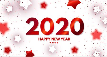 Happy New 2020 Year Elegant Design with red shining year number on white background and stars Ilustração