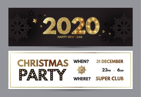 Happy New 2020 Year Elegant poster template set with gold shining year number, confetti and snowflakes.