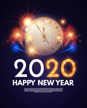 Happy new 2020 year Shining holoday design with clock. fireworks and bokeh effect.