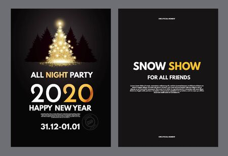 New 2020 year party flyer template with gold shining Christmas tree and coniferous forest.