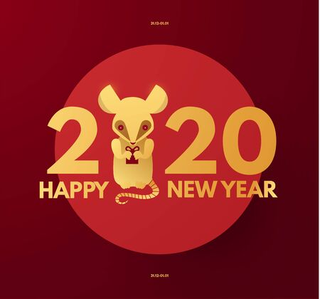 Happy new 2020 year design with rat character, the symbol of the year. Red and gold. Chinese new year.