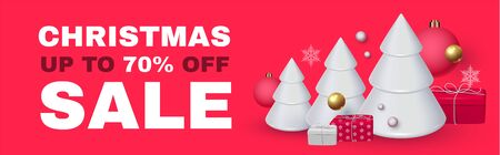 Christmas Sale Seasonal special offer with 3D fir trees, gifts, lettering and glossy balls.