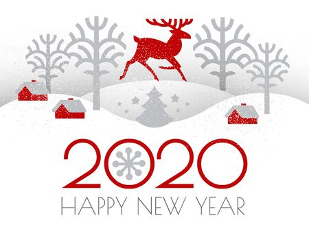 Happy new 2020 year Christmas flyer with Reindeer and winter landscape. Nordic design.