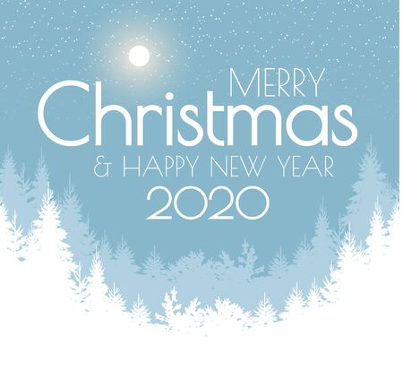 Holiday winter landscape background with coniferous forest. Christmas New Year design.