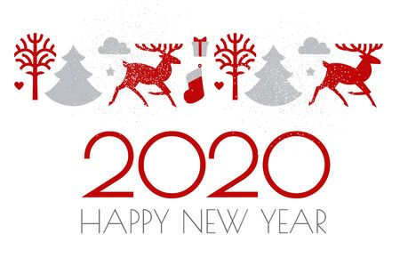 Happy new 2020 year Christmas design with Reindeer and fir trees and holiday decoration. Ilustração