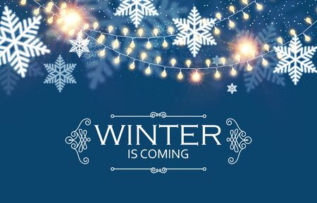 Happy New Year Seasons Background with Snowflakes and Light Garlands. Shining Winter Design. Illusztráció