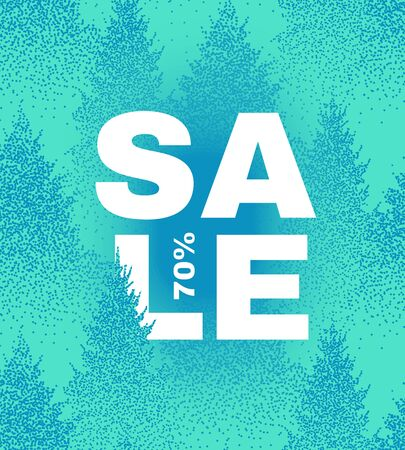 Christmas sale. Elegant design template with lettering and winter forest background.