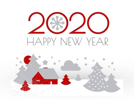 Happy new 2020 year Christmas flyer with winter landscape. Nordic design.
