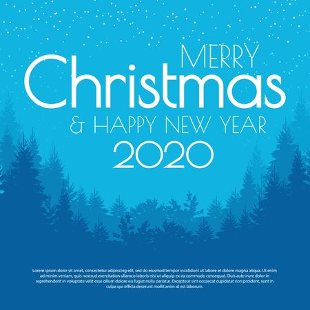 Holiday winter landscape background with coniferous forest. Christmas & New Year design.