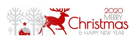 Happy new 2020 year Christmas flyer with reindeer and winter landscape. Nordic design. 일러스트