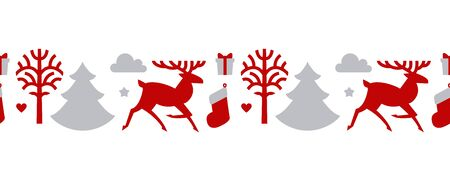 Christmas seamless patterin with reindeer, fir trees and gift. Nordic design.