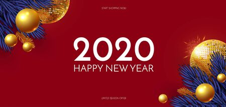 Happy New 2020 Year Shining holiday design with gold disko ball, fir tree branches, glossy toys and light. Party invitation.
