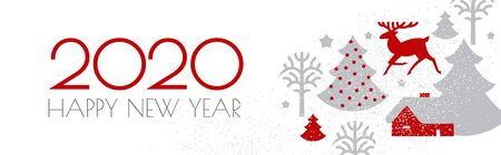 Happy new 2020 year Christmas flyer with reindeer and winter landscape. Nordic design. Ilustração