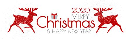 Merry Christmas and Happy New Year flyer with reindeer and gift. Nordic design.