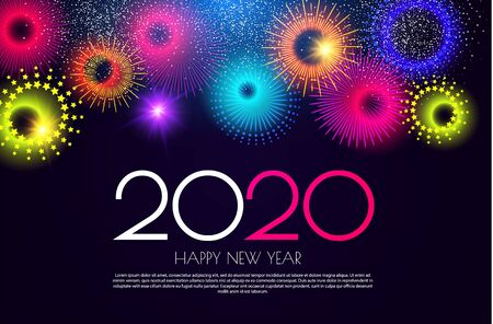 Happy New 2020 Year Colorful design template with minimalistic fireworks.
