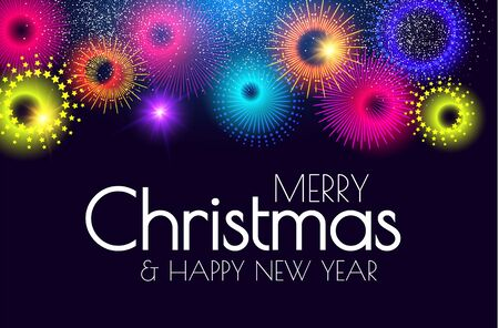 Merry Christmas and Happy New Year Colorful design template with minimalistic fireworks.