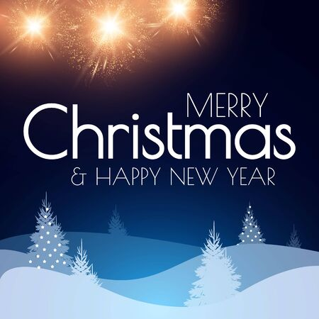 Merry Christmas and Happy New Year design template with fir trees and snow. Coniferous forest with lights.