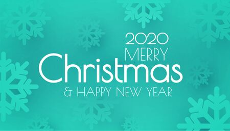 Merry Christmas and Happy New 2020 year Holiday background with smowflakes. Ilustração