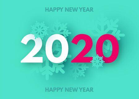 HappyNew 2020 Year Trendy color background with snowflakes. Ilustração