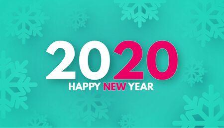 HappyNew 2020 Year Trendy color background with snowflakes. Illusztráció