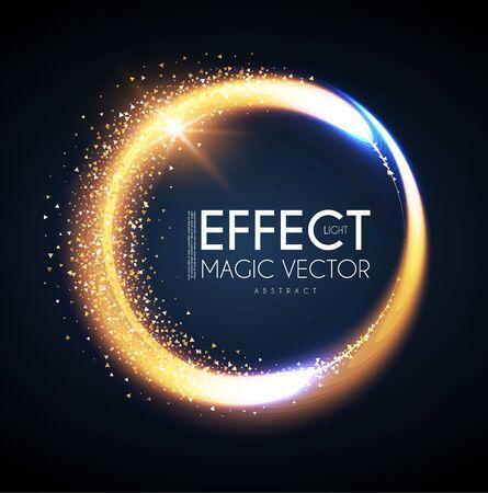 Efecto de luz de círculo mágico. Bandera reluciente y brillante. Fondo abstracto.