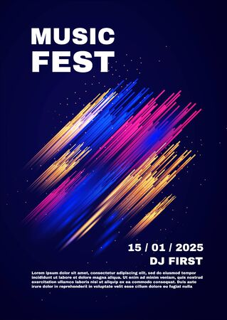 Party and show poster template. Concert, exhibition, dance party flyer. Abstract background.