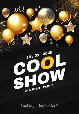 Party and show poster template. Concert, exhibition, dance party flyer. Gold flying foil balloons. Illustration