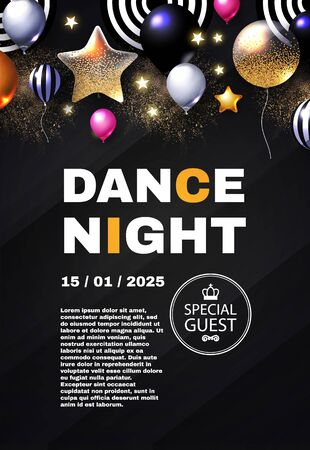 Dance night. Party and show poster template. Concert, exhibition, dance party flyer. Birthday design. Flying foil balloons. Illustration