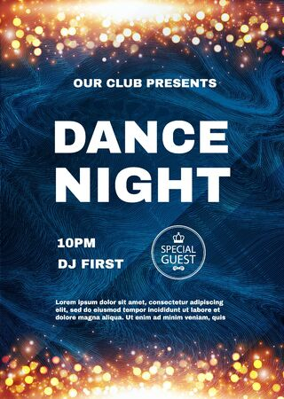 Dance night. Music fest poster template with shining fireworks. Show, exhibition, competition, birthday party flyer design.