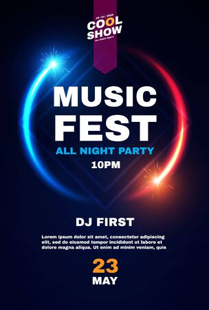 Music fest poster template. Show, exhibition, competition, birthday and dance party flyer design.