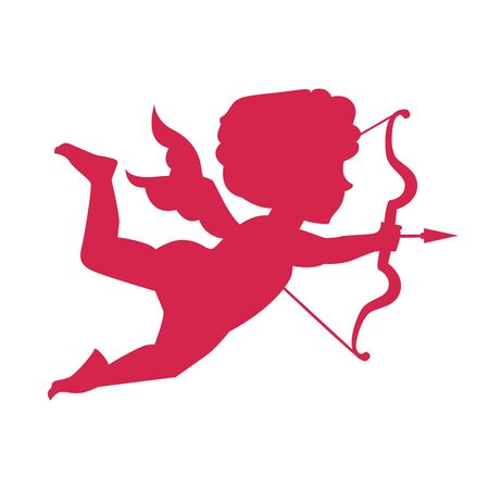 Cupid silhouette. Happy Valentine s day design element. Angel with bow.