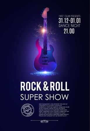 Music poster with electirc quitar. Shining rock & roll concert flyer template.