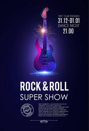 Plakat muzyczny z gitarą elektryczną. Błyszczący szablon ulotki koncertowej rock & roll.