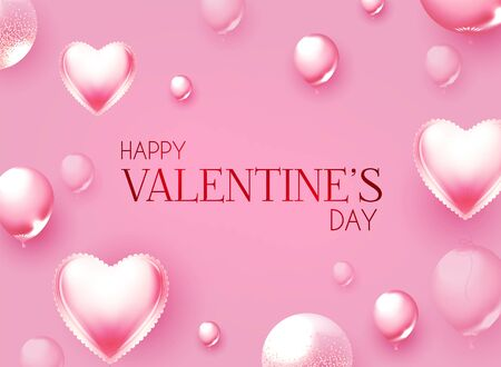 Happy Valentine s Day Cute design with realistic pink foil balloonsand lights.