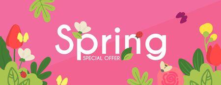 Spring is comming. Seasob label with hand drawn cute flowers. Ilustração